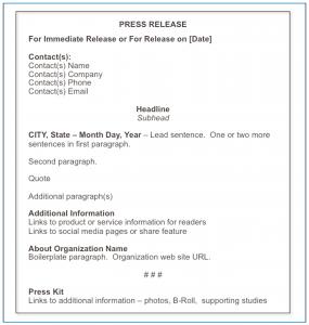 news release format chap fig standard press release format