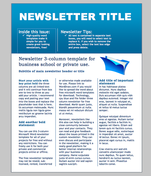 newsletter template word