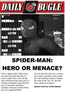 newspaper headline template spider man the daily bugle front headlines by stick man dafhvm