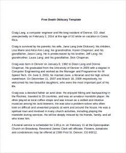 newspaper obituary template free death obituary template