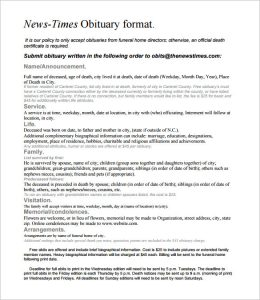 newspaper obituary template obituary template for newspaper