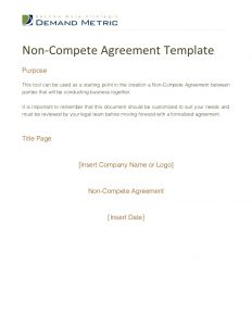 non compete agreement template non compete agreement template