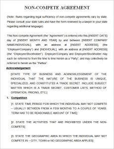 non compete agreement template non compete agreement template free download