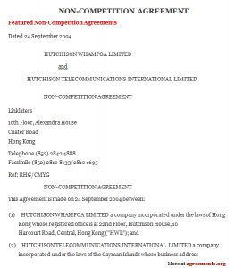 non compete agreement template non compete agreement