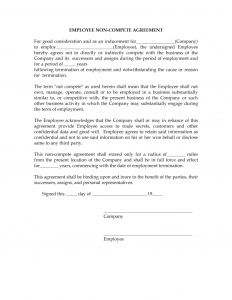 non compete agreement template not compete agreement x