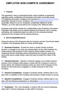 non compete form employee non compete agreement form x