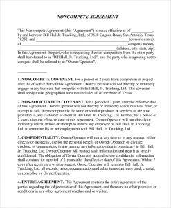 non compete form non compete agreement form