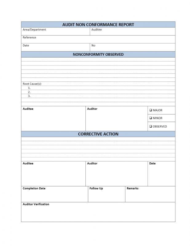 Non Conformance Report   Template Business