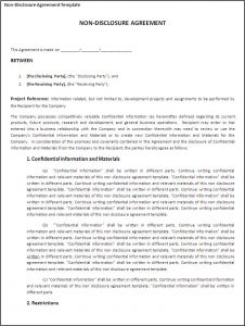 non disclosure agreement sample non disclosure agreement template