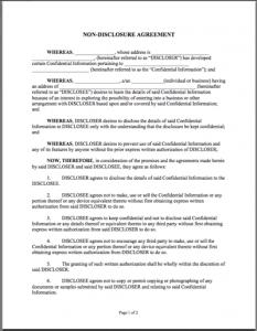 non disclosure agreement sample samplenda