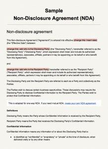 non disclosure agreement sample screenshot sample non disclosure agreement template