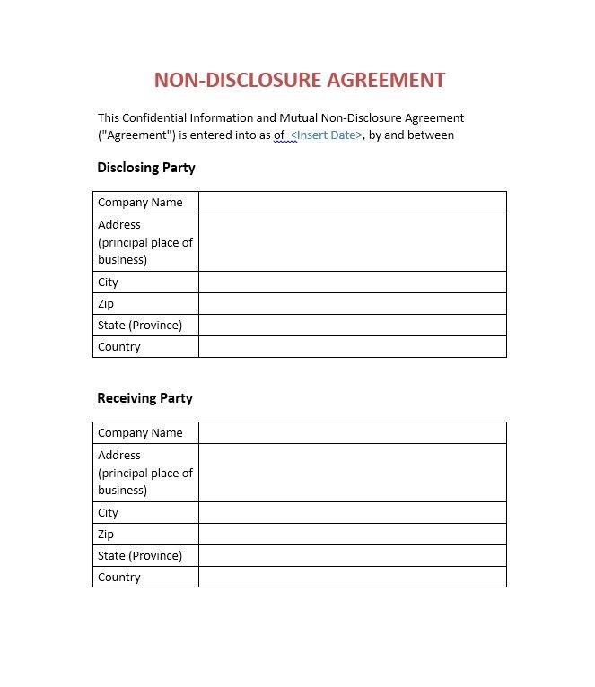 non disclosure form
