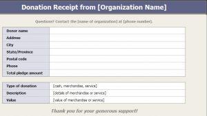 non profit donation receipt donation receipt sample