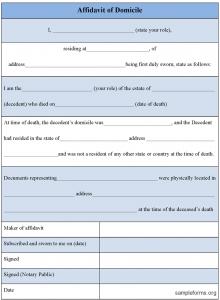 notarized document sample affidavitofdomicileform