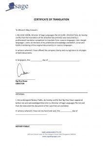 notarized document sample certified translation