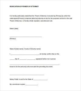 notarized letter format revocation of power of attorney notarized letter word format