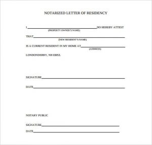 notarized letter of residency blank notarized letter of residency download