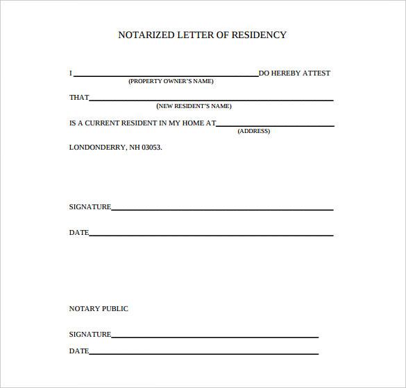 notarized letter of residency