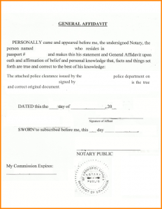 notary letter template notarized statement sample general affidavit for police clearance notarization