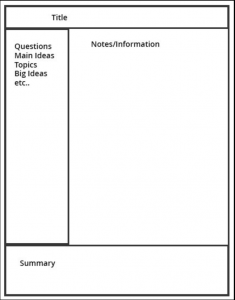 note taking template cornell note taking template test