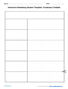 note taking template foldable interactive note taking templates