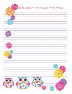 notebook paper printable cdafbecefeb owl printable free printable paper