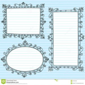 notebook paper printable picture frame borders notebook doodles set