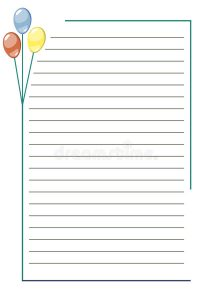 notebook paper printable vector blank letter greeting card white paper form colorful balloons lines border format size
