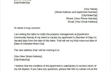 notice of intent to vacate sample intent to vacate letter template