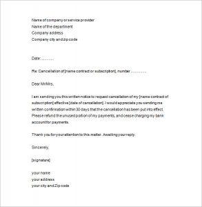 notice of termination notice of termination letter template
