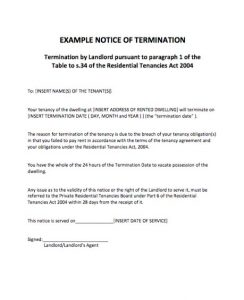 notice of termination example notice of termination