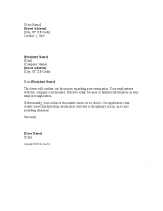 notice of termination falsifying information termination notice template
