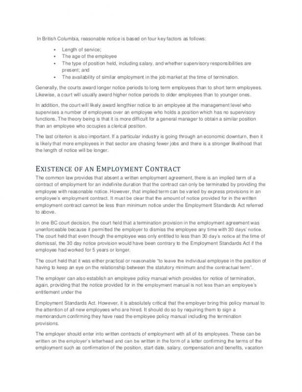 notice of termination of employment
