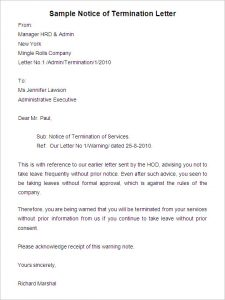 notice of termination sample notice of termination letter