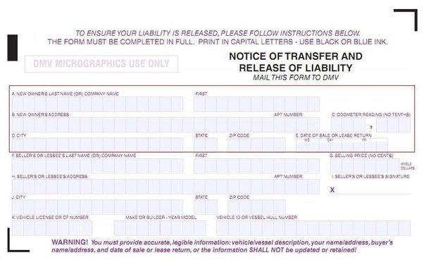 notice of transfer and release of liability form
