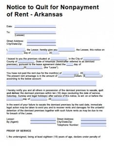 notice to vacate form arkansas day notice eviction late rent x