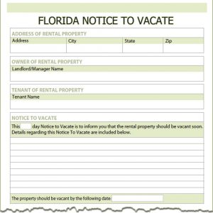notice to vacate form florida notice to vacate
