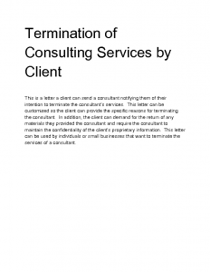 notice to vacate form ihboo termination of consulting services by client