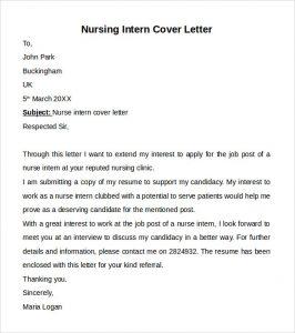 nursing cover letters sample nursing intern cover letter