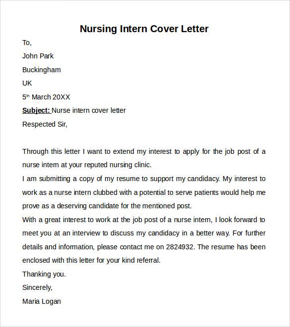 nursing cover letters sample