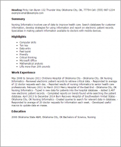 nursing reports templates nursing informatics