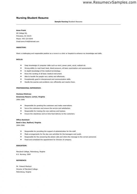 nursing student resume examples
