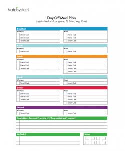 nutrisystem meal planner day off plan
