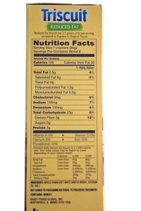 nutrition label templates triscuit reduced fat label