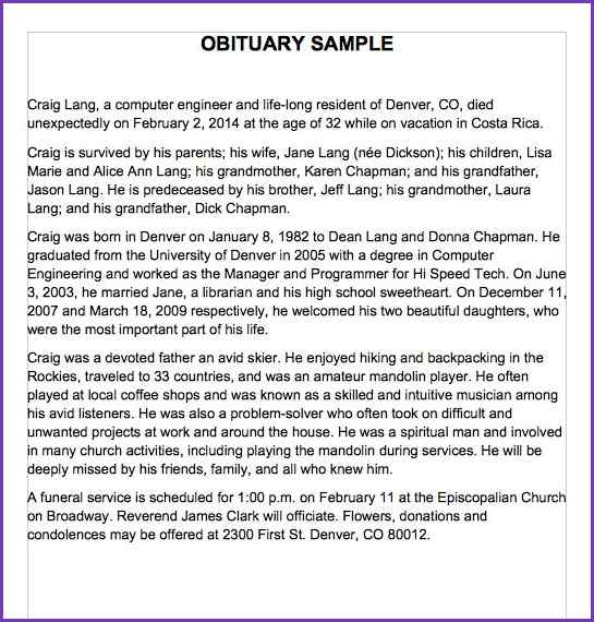 obituary template mother