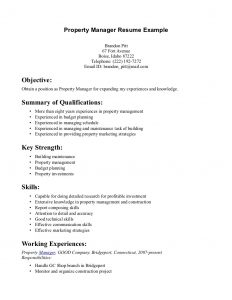 objective for resume for freshers great of simple property manager summary of qualification include list key s