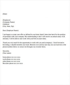 offer letter example company job offer
