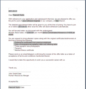 offer letter format generated offer letter