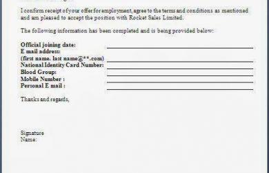 offer letter format job offer acceptance letter format