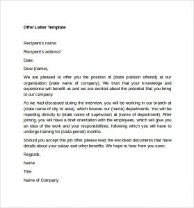 offer letter format sample offer letter template format